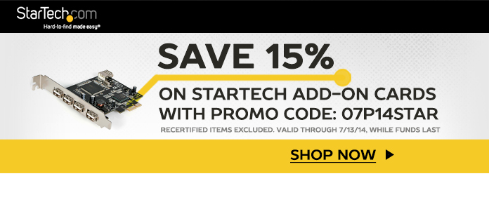Startech 15% off with promo code