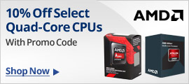10% off select Quad-core CPUs with promo code