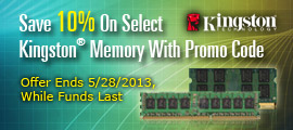 Save 10% on select Kingston Memory with promo code