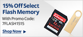 15% off select flash memory with promo code