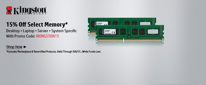 15% off memory with promo code