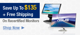 Save up to $135 +Free Shipping on Select Recertified Monitors