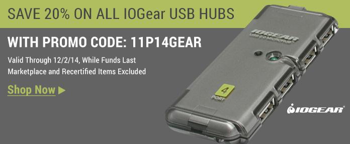 Save 20% on all IOGEAR USB hubs shop now