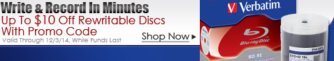 Up to $10 Off Rewritable Discs w/ Promo Code