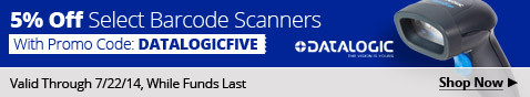 5% off select Barcode Scanners with promo code