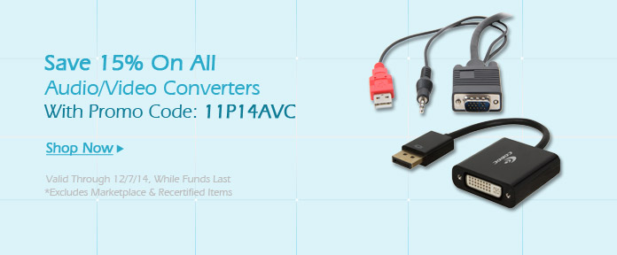 Save up to 15% on all Audio / Video converters with promo code :11P14AVC
