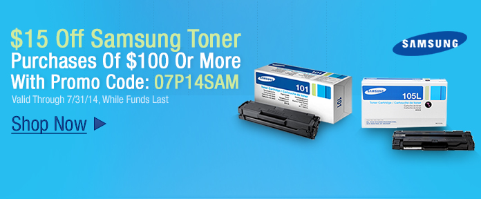 $15 off Samsung Toner purchase of $100 or more with promo code