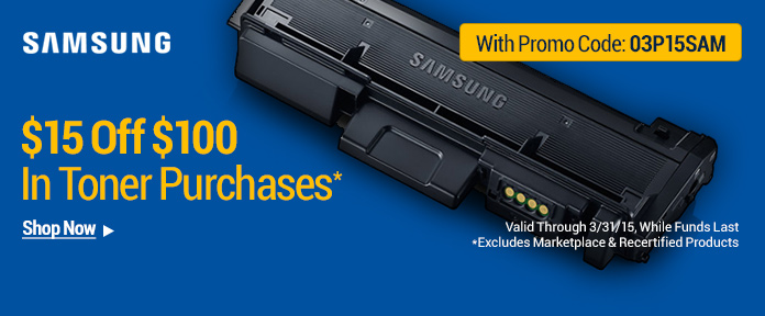 $15 Off $100 in Toner Purchases