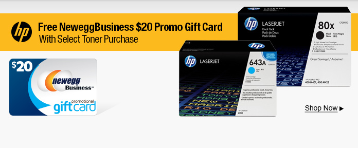 Free $20 promo gift card w/ select Toner Purchase