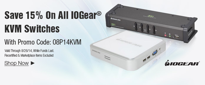 Save 15% on All IOGEAR KVM Switches