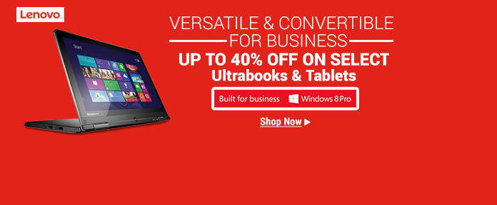Up To 40% Off on Select Lenovo Ultrabooks & Tablets