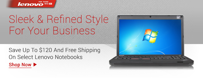 Lenovo Notebooks - Save Up To $120 And Free Shipping
