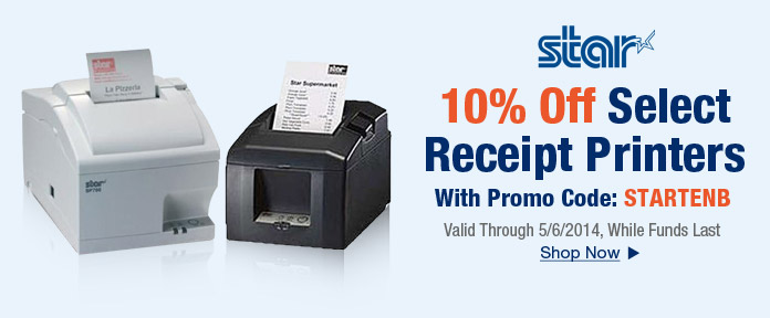 10% off select receipt printers with promo code