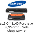Save $15 on a Toner Purchase of $100 or more with Promo Code