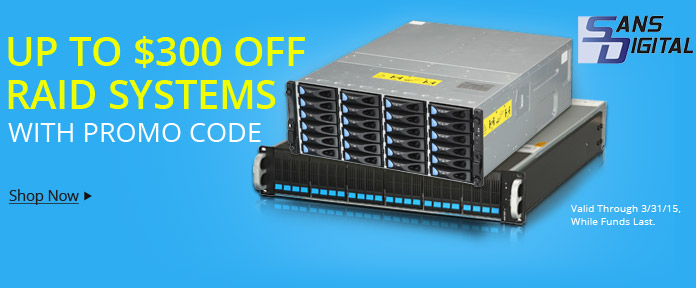 Up to $300 off RAID systems w/ promo code