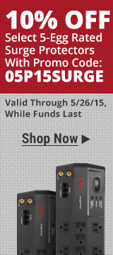 10% off select 5-egg rated surge protectors with promo code