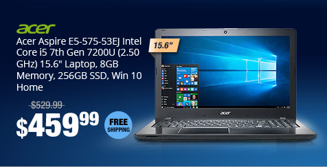 "Acer Aspire E5-575-53EJ Intel Core i5 7th Gen 7200U (2.50 GHz) 15.6"" Laptop, 8GB Memory, 256GB SSD, Win 10 Home"