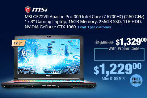 "MSI GE72VR Apache Pro-009 Intel Core i7 6700HQ (2.60 GHz) 17.3"" Gaming Laptop, 16GB Memory, 256GB SSD, 1TB HDD, NVIDIA GeForce GTX 1060"
